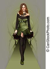 Fashion Model green - a female model in a stylish dress