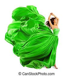 Fashion Model Hair Waving on Wind, Young Woman Posing In Studio