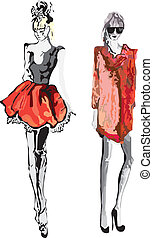 Fashion Model - Hand-drawn fashion model. Vector ...