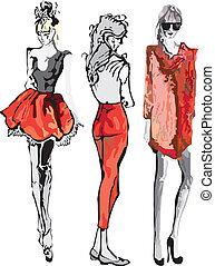 Hand-drawn fashion model. Vector illustration.