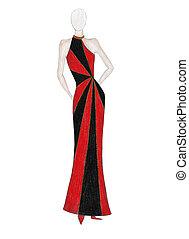 Fashion model - Hand made sketch of girl with elegant black...