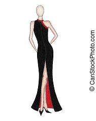 Fashion model - Hand made sketch of girl with elegant black ...