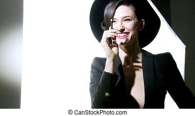 Fashion model having fun - Amazing beauty smiling during...