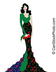 Fashion model in floral beauty dress, sexy woman posing evening gown. Shop logo silhouette diva beautiful luxury cover girl retro woman styling evening dress 1940s , 1950s, template vector isolated