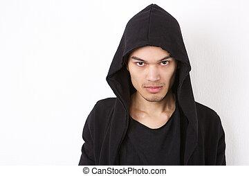 Fashion model in hood sweatshirt