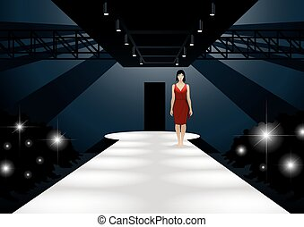 Fashion model in red dress walking down a catwalk