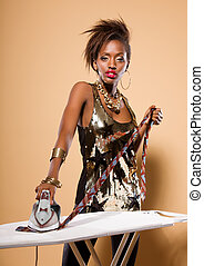 Fashion Model Ironing Tie - Attractive model in stylish...