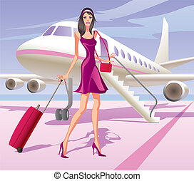Fashion model is traveling by aircraft - vector illustration