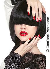 Fashion model. Long Black Fringe. Red sexy lips. Bob Hairstyle.