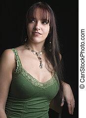 Fashion model - looking side way