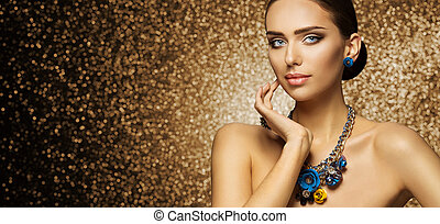 Fashion Model Makeup Portrait, Elegant Woman in Necklace Jewelry touching Face, Beautiful Slim Lady Make Up