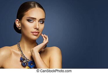 Fashion Model Makeup, Woman Beauty Face Make Up Portrait, Elegant Lady Touching Cheek