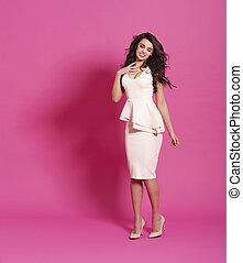 Fashion model on pink background