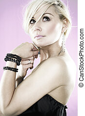 fashion model - Beautyfull fashion model on pink background