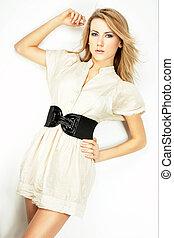 Fashion model Posed on light background