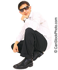 Fashion Model Posing On Floor