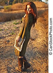 Fashion Model Posing Outdoors at Sunset