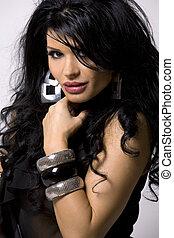fashion model - pretty woman wearing black outfit on white...