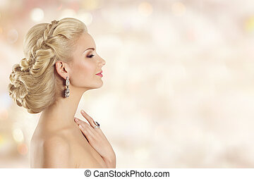 Fashion Model Profile Beauty, Happy Elegant Woman Portrait, Beautiful Hairstyle and Makeup