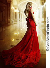 Fashion Model Red Dress, Woman Beauty Portrait, Young Girl with Blond Hair in Long Gown, Elegant Lady