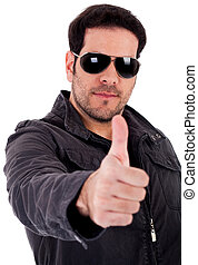 Fashion model showing thumbsup wearing sunglasses
