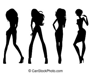 Set of four black silhouettes of fashion posing models isolated on white background, hand drawing vector illustration