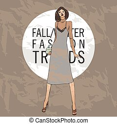 Fashion model. Sketch fall winter trends
