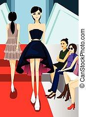 Fashion Model Walking on Runway Show