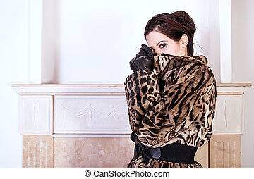 Fashion model wearing fur
