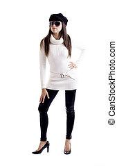 Fashion model white knit work blouse