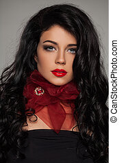 Fashion Model with Long Permed Hair Portrait