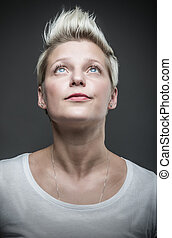 Fashion model with short hair.