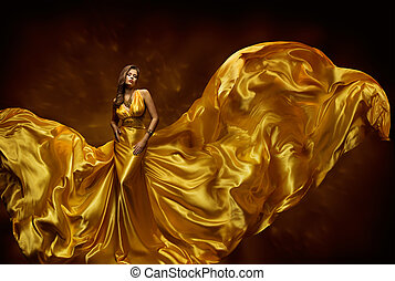 Fashion Model Woman Dress, Lady In Fluttering Silk Beauty Gown, Fabric Waving On Wind, Beautiful Girl With Long Dynamic Flying Cloth