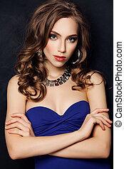 Fashion Model Woman on Black Background