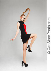 Fashion model - Young blonde fashion model posing for...