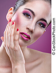 Fashion modell with beautiful pink makeup