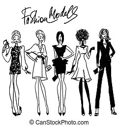 Fashion Models - Collection of hand drawn fashion models, ...