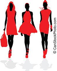 Fashion models. - Fashion model in red.