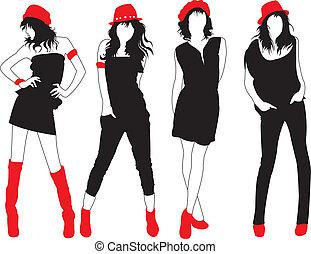Fashion models. - Fashion models in red head dressing.