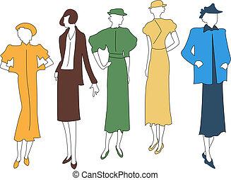 Fashion models. - Fashion models in silhouettes.