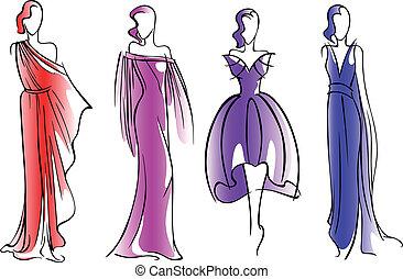 Fashion models - Modern fashion models of beautiful dresses...