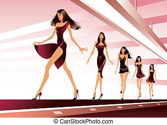 Fashion models on runway