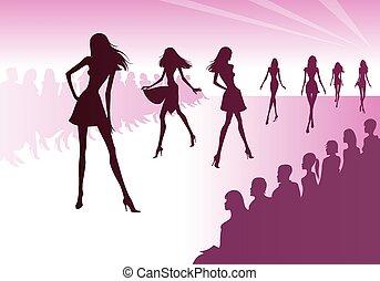 Fashion models represent clothes