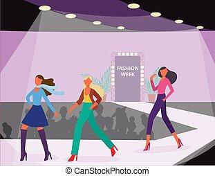 Fashion models represent clothing at fashion show - flat vector illustration.