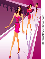 Fashion models show new clothes at a fashion review - vector...