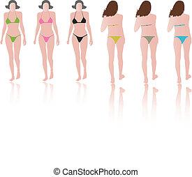 fashion models with bikinis on runway