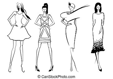 Fashion models.Sketch. Set of vector women or girls.