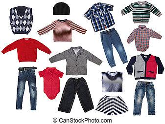 Fashion modern male baby clothes.Collage set of boy kid wear