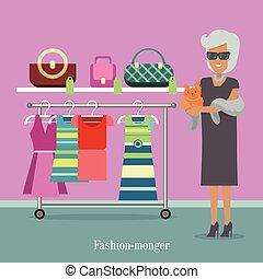 Fashion Monger Lady in Luxury Shop. Rich Woman - Fashion ...