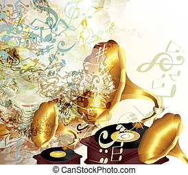 Creative vector background with old gramophone and notes